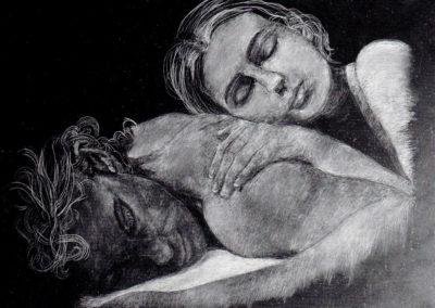 Amanti, incisione su ardesia, cm. 30x40