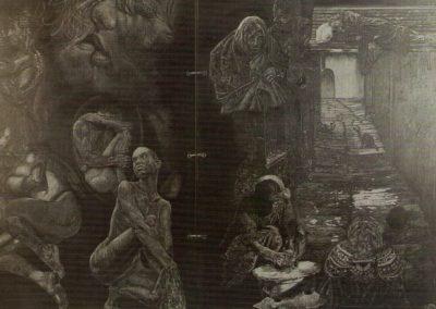 Amori, incisione su ardesia, cm.50x70
