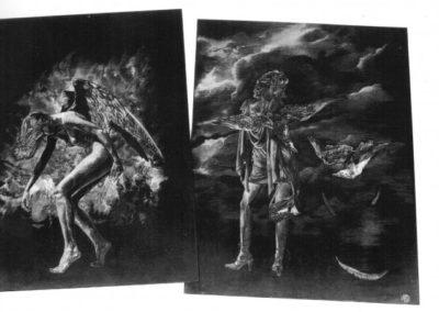Angeli, ardesia incisa, cm. 50x70