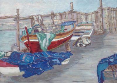 BARCHE IN PORTO dipinti all'aperto 60x50 pittura ad olio su tavoletta 2000