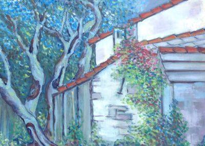 CASE A SAN ROCCO DI CAMOGLI dipinti all'aperto 60x50 pittura ad olio su tavoletta 2017