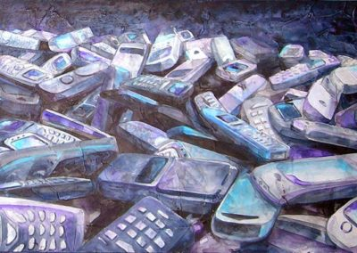 Cellulari | acrilico su tavola cm 20x40