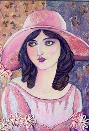 Donna con cappello 50x40 tecnica mista su cartone.