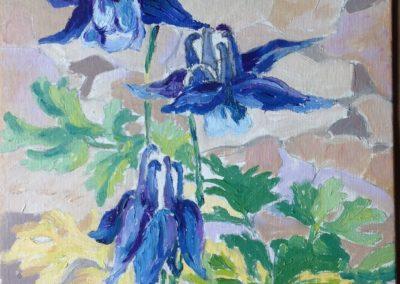 FIORI DI MONTAGNA Aquilegia 30x30 pittura ad olio su tela 2015