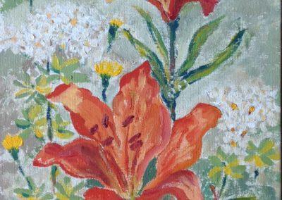 FIORI DI MONTAGNA LiliumBulbiferum 30x30 pittura ad olio su tela 2015