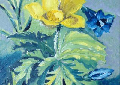 FIORI DI MONTAGNA Ranuncolo e Genziane 30x30 pittura ad olio su tela 2015