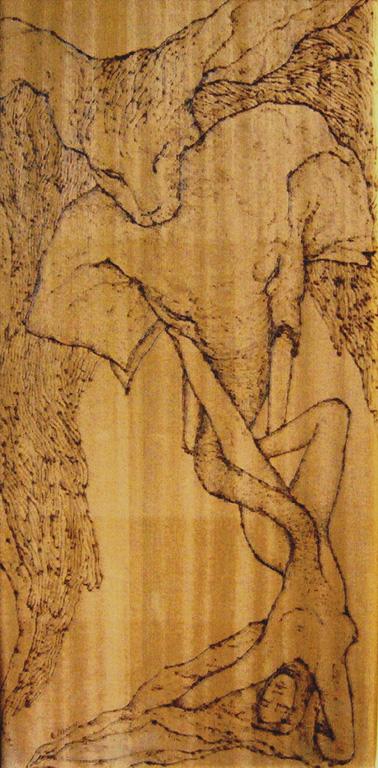 FORZA E INTELLIGENZA | incisione a pirografo su legno 60 x 30