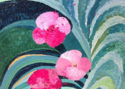 HEMEROCALLIS, 40x40 pittura ad olio su tela 2016