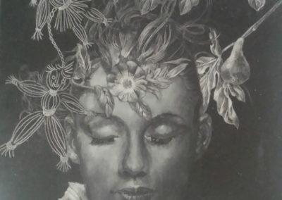 In fiore, incisione su ardesia, cm. 24x18