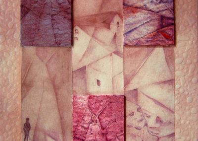 LA CASA DELLA ROSSA | Tecnica mista su tavola e tela 40 x 40