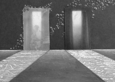LE DUE PORTE | Tecnica mista su tavola e tela 40 x 40