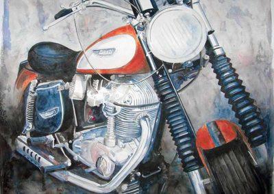 La Ducati rossa | acrilico su cartoncino su tavola cm 60x60