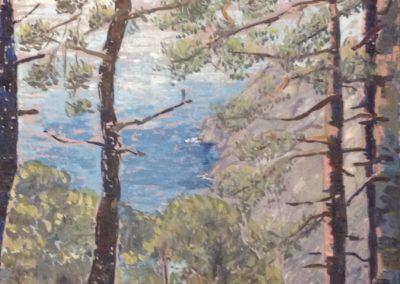 MONTE DI PORTOFINO dipinti all'aperto 60x50 pittura ad olio su tavoletta 1995(2)