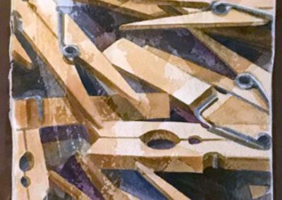 Mollette | acquarello su cartoncino preparato con tecnica mista cm 38x22