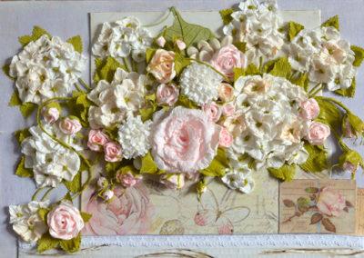 Ortensie e rose 53x27 tecnica mista su tavola