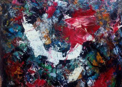 Percorso informale, olio su tavola, cm. 40 x 39 - Giorgio Malvezzi