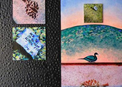 SULLE ORME DELLO SCONTRINO | tecnica mista su tavola e tela 40 x 40
