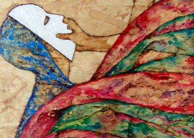 TOLTA LA MASCHERA | Pirografo su legno – acrilici 60 x 30