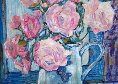 Vaso di rose 50x40 acrilico su cartone