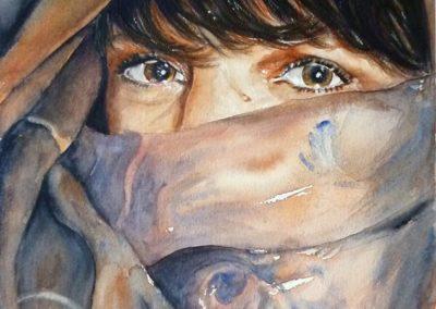 Artista velata | Acquarello su carta cm. 35,7x23,5