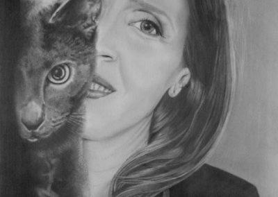 Attenti al gatto e a Cynzia | Grafite su carta cm. 48x32
