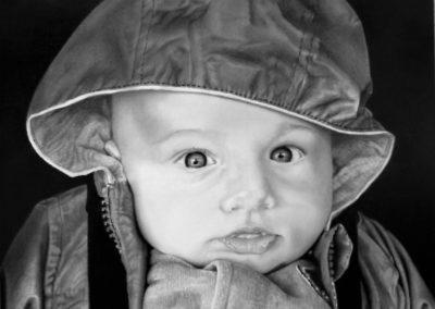 Bebè in autumn | Grafite su carta cm. 35x30