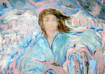 Dal-Presepe-del-drago-blu---acrilico-su-tela,-cm.-100x100