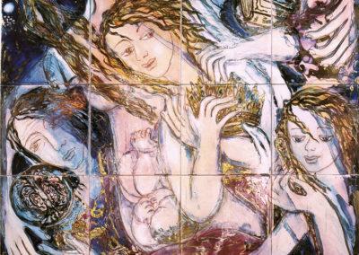 Genova, allegoria (passato, presente, futuro) - pannello in ceramica, policroma vetrificata, sfumature e contorni in oro e platino