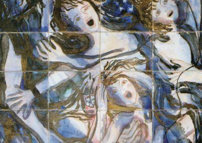 Il fiume della vita, pittura su ceramica porosa, vetrificazione (II fuoco), sfumature in oro e platino (III fuoco), cm. 120x80)