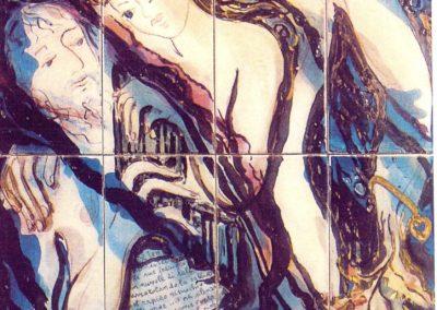 Il tempo, pannello in ceramica, II fuoco pittura con terre colorate e vetrificazione, III fuoco sfumature e profili in oro e platino, cm 120x60