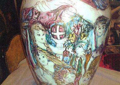 La Germania Unita - 26 luglio 1990, vaso in ceramica, II fuoco pittura con terre colorate e vetrificazione, III fuoco sfumature e profili in oro e platino, h cm. 70