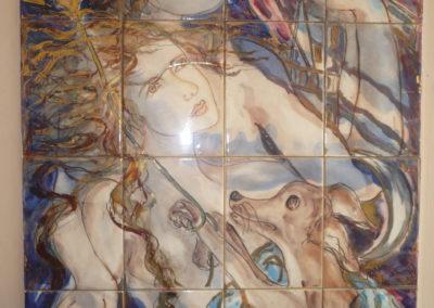 La felicità un sogno, 1993, Pannello in ceramica, II fuoco pittura con terre colorate e vetrificazione, III fuoco sfumature e profili in oro e platino, cm. 80x60