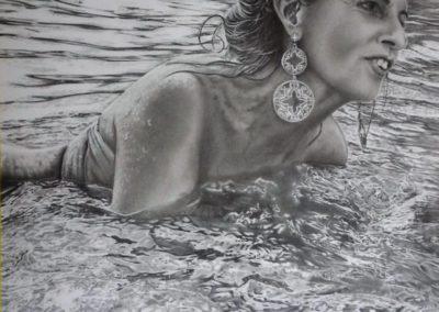 Lady in the wet | Grafite su carta cm. 35x30