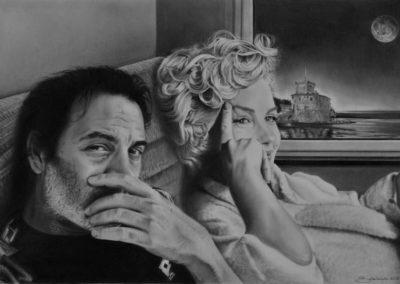 Marilyn and Bruno at home | Grafite su carta cm. 32x48