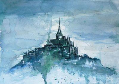 Mont Saint-Michel … en blue | Acquarello su carta cm. 30x22