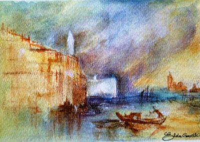 Omaggio a Joseph Turner | Venezia sotto il temporale | Acquarello su carta cm.12,5x18