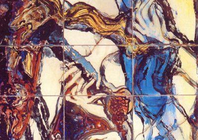 Ora sorridono, sanguigni, i melograni a terra..., pannello in ceramica, II fuoco pittura con terre colorate e vetrificazione, III fuoco sfumature e profili in oro e platino, cm. 105x80