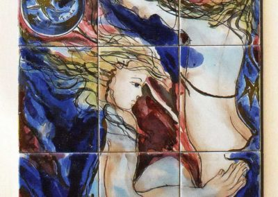 Se gli ideali sfuggono dalle mani come palloncini al vento, di chi è la colpa, 1993, pittura con terre colorate su materiale poroso, I-II-II fuoco e venature in oro zecchino, cm. 101x45