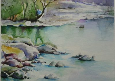 Serenità sul lago | Acquarello su carta cm. 15,6x18,3