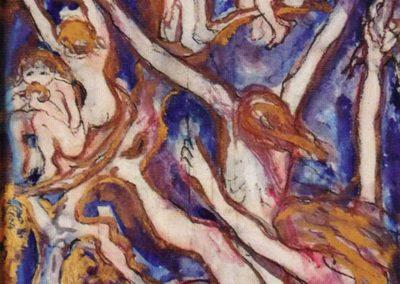 Sogno di un miracolo, 1993, terre colorate su ceramica, II fuoco (vetrificazione), III fuoco venature in oro, cm. 45x34